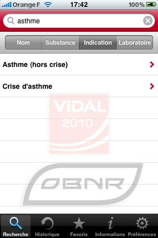 Vidal pour iPhone - Recherche par indication (1)