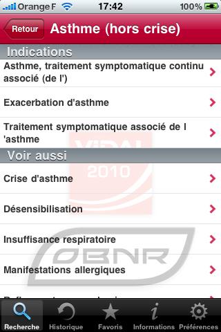 Vidal pour iPhone - Recherche par indication (2)
